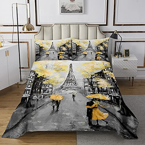 Berühmte Sehenswürdigkeiten des Pariser Themas Tagesdecke Bettdecke Set Gelber Regenschirm Gesteppte Bettdecke Set 2St Paar zu Fuß Dekorative Bettwäsche Bettdecke 1 Pillow Shams 170×210cm Bettdecke