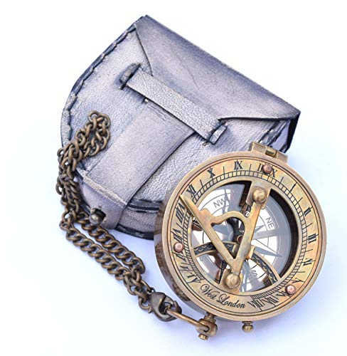 Neovivid Brass Sundial Compass With Chain & Leather Case - Marine Nautical - Sun Clock - Steampunk Accessory