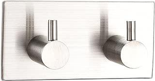 Lightess 2 Gancho de Pared Percha Perchero Colgador Auto-Adhesivo que Lleva Una Pegatina 3 Metros SUS304 Acero Inoxidable Acabado Cepillado a Colgar Sombrero Ropa Abrigo Toalla Albornoz Fuerte Capacidad de Carga