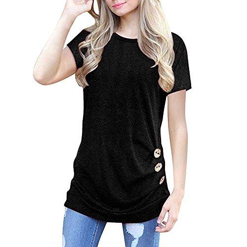 OVERDOSE Damen Kurzarm Lose Knopfleiste Bluse Einfarbig Rundhals Tunika T-Shirt Sommer Oberteil Tops (B-schwarz,XL)