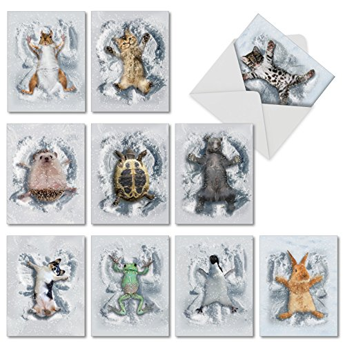 10 Adorable 'Critter Snow Angels' Thank You Cards with Envelopes, Assorted Greeting Cards Featuring Animals Playing in Snow, Great for Weddings, Birthdays, Holidays 4 x 5.12 inch M4187TYG-B1x10
