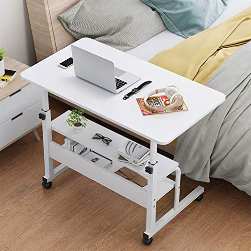 HXXXIN Bedside Lifting Table, Lazy Table, Simple Laptop Computer Table, Simple Modern Table for Home Use on The Bed, Removable Lifting Table, General Computer Table,White,60x40cm