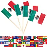 JBCD 100 Pcs Mexico Flag Toothpicks Mexican Flags Cupcake Toppers Decorations, Cocktail Toothpick Flag Cake Topper Picks Mini Small Flag Cupcake Pick Sticks