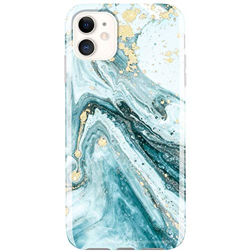 JIAXIUFEN Compatible with iPhone 11 Case Gold Sparkle Glitter Marble Slim Shockproof Flexible Bumper TPU Soft Case Rubber Silicone Cover Phone Case for iPhone 11 2019 6.1 inch - Blue