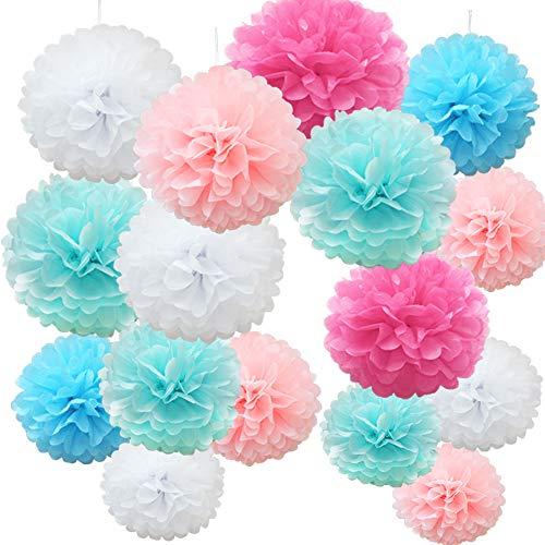 Time to Sparkle 16pcs Mix Tissue Paper Pompoms Pom Poms Flower Handmade Wedding Party Decorations Balls, Pink Blue Shade