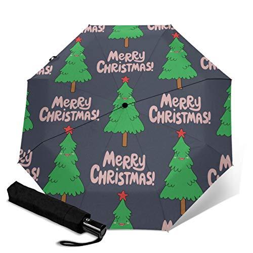 Weihnachts-Regenschirm mit Flamingo-Motiv, Winddicht, Reise-Regenschirm, automatisches Öffnen/Schließen, kompakt, faltbar Pink Weihnachtsbaum, Cartoon-Design Einheitsgröße