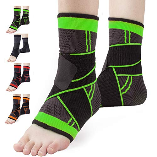 Ankle Brace Set of 2 Compression Support Adjustable Sleeve for Injury Recovery Joint Pain and More Arch Brace Support Foot Stabilizer Ankle Wrap Protect Against Ankle Sprains or Swelling