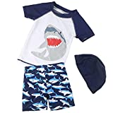 Baby Boys Two Piece Swimsuits Rash Guard Short Sleeve Shark Bathing Suit Swimwear Sets with Hat UPF 50+ for Kids (White Shark, 5-6 Years)