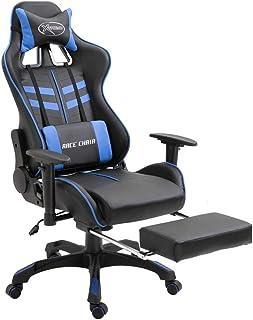 Tidyard Silla Gaming de Escritorio con reposapiés Ergonómica Regulable Altura Ajustable 360° Giratorio para Oficina Hogar y Gaming Azul PU