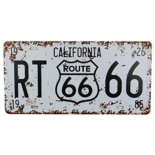 Plaque d'immatriculation en métal Route 66 Blanc