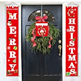 3Pcs Christmas Decorations Outdoor Interior - MERRY HRISTMAS Porch Sign - Santa Snowman Wreath Pattern Banner Sign - Home Wall Door Apartment Front Door Party Hanging Decoration (Red) Gift Glue