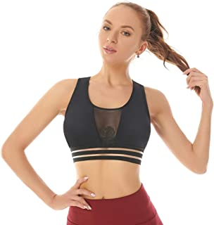 Women's Mesh Sports Bra, Wirefree Padded Removable Bras Workout Gym Fitness Activewear Running Top