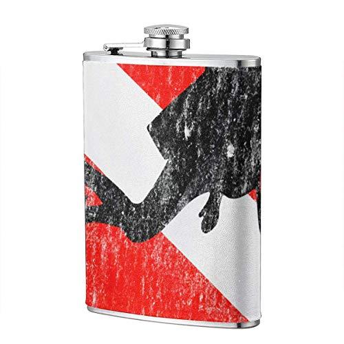 XBYC Diver on Dive Flag Tauchgeschenke Schnaps- und Trichterflasche 8 Unzen auslaufsichere Edelstahl-Taschenflasche für Alkohol Whisky Rum und Wodka Herrengeschenk