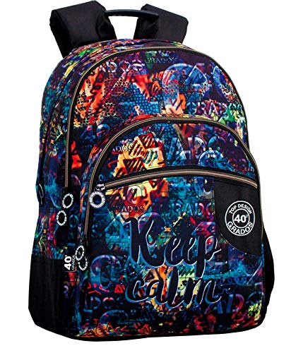 Montichelvo Montichelvo Double Backpack A.O. CG Keep Calm Bolsa Escolar, 43 cm, Multicolor (Multicolour)