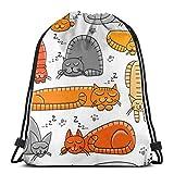 Valender Carrito de Dormir Kitty Funny Drawstring Bag Mochila Travel Gymsack Mochila con cordón Mochila Sackpack