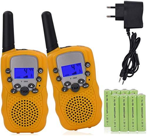 2 x walkie Talkie para niños con baterías Recargables y Cargador walkie Talkie 8 Canales Llegan a 3 km a LCD-Walki talki Radio Dispositivo para niños,Amarillo