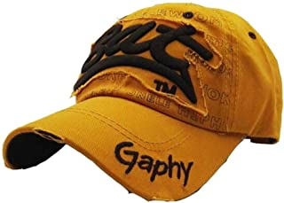 Vadeytfl Unisex Distressed Vintage Baseball Cap Adjustable Hip Hop Hats, Outdoor Sports Baseball Hat, Hiking Hat, Running Hat (Color : Yellow)