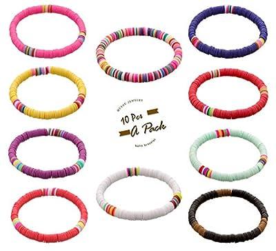 10 Pcs Friendship Bracelets Vsco Boho Beaded Bracelet for Women Surfer Bracelets Polymer Clay Rainbow Bracelet Elastic Rope Heishi Bracelet Set Summer Beach Jewelry