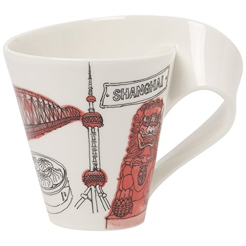 Villeroy & Boch Cities of the World Kaffeebecher Shanghai, Premium Porzellan, rot