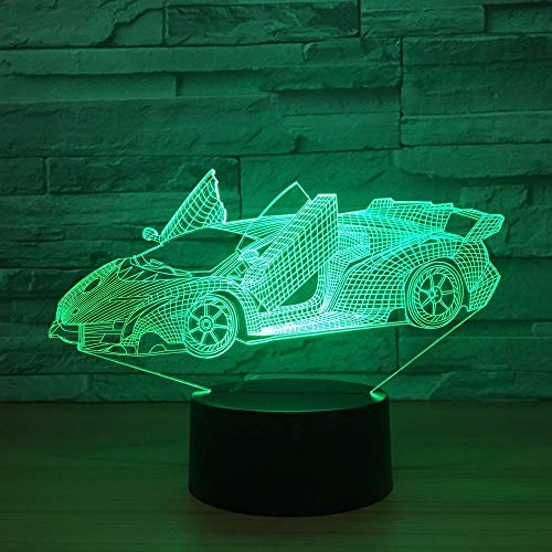LIZIJIN Colorful Sports car Stereo Vision LED lamp 3D Night Light Colorful Acrylic Remote Control Atmosphere lamp Best Gift Toy, Bluetooth Stereo