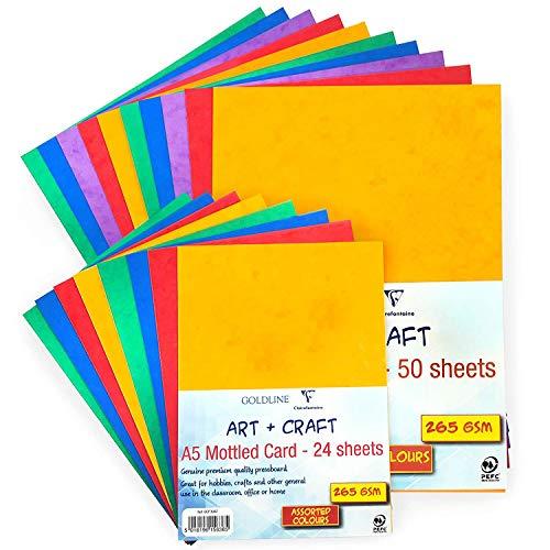 Clairefontaine Moteado Tarjeta de Color Cartón Prensado - Calidad Premium - 265gsm-A4-50...