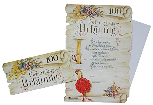 Geburtstags Urkunde Glückwunschkarte Grußkarte 100. Geburtstag 52-85100