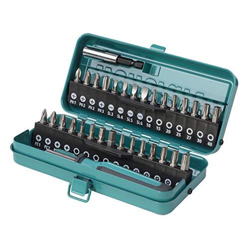 Wolfcraft 1388000 Caja estándar sólida, 32 Pieza, en Estuche metálico: 1 atornilladores manuales, 1 Adaptador, 30 Puntas Ranura, Phillips, Pozidriv, hexagono Interior, Torx con Orificio Pack 1