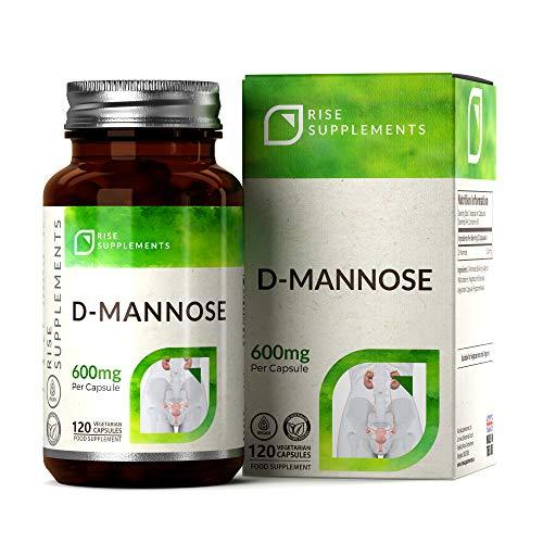 Rise Supplements D-Mannose Kapseln – Hochdosiert: 1.200 mg pro Portion | 120 vegetarische Kapseln | Hergestellt in ISO-zertifizierten Betrieben in GB