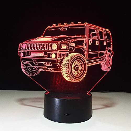 Luz de noche 3d Cool SUV Car 3D Night Light 7 colores LED Lámpara de mesa Interruptor táctil USB Nueva lámpara Niños Luz para dormir para amigos Regalo de Navidad