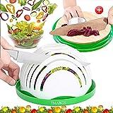 Salad Cutter Bowl,Bamboo Base 2019 Upgrade Ecological Cut Bowl,Fruit Vegetable Salad Cut Bowl,Natural Bamboo Cutting...