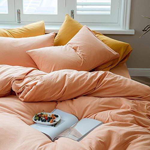 Solid Duvet Cover Queen,Girls Pink Duvet Cover Sets-Jersey Knit Cotton Modern Luxury Bedding...