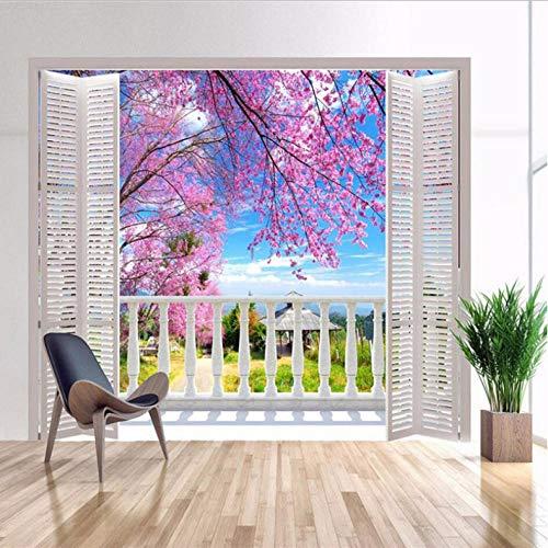 Pbbzl 3D-fotobehang, verkeerd vensterzicht, romantische kersenbloesems, muurschildering, woonkamer, slaapkamer, decoratief 350 x 250 cm