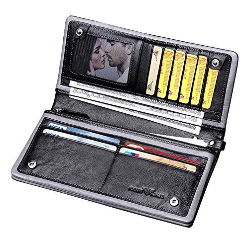 EEKUY Mannen Polsband Portemonnee, Lederen Lange Portemonnee Kaarthouder met Cash Bits Foto Bit En 10 Kaartsleuven 8 X 4.05 X 0.71 Inch