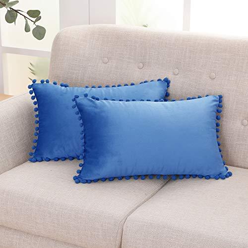 Deconovo Fundas de Almohadas Cojines Terciopelo Decorativas Hogar con Pelota para Sofás Dormitorio Pack de 2 30 x 50 cm Azul