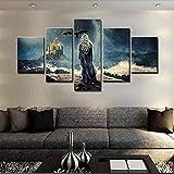CHUADIAD Arte de Pared Cuadro de Lienzo Modular decoración del hogar 5 Paneles película Juego de Tronos Pintura póster Impreso para Sala de Estar Cuadros-Sin Marco