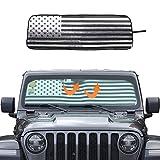 Windshield Sunshade Car Sun Shade Heat Shield Custom-fit Sunshade Sun Visor Mat for 2018-2020 Jeep Wrangler JL JLU JT, USA Flag