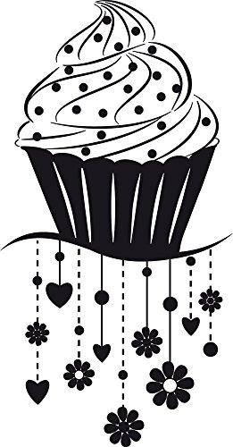 GRAZDesign Küchentattoo Retro - Wandtattoo Sprüche Küche Cupcake - Wandtattoo Küche Muffin / 77x40cm / 070 schwarz