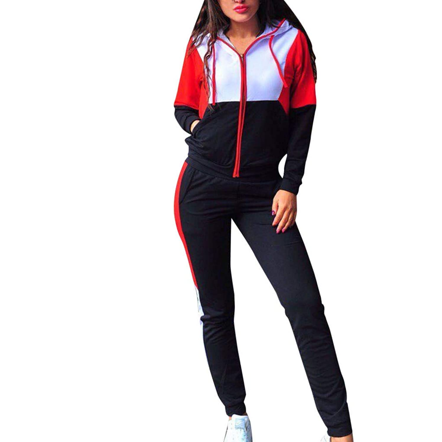 Fashion Women 2 Piece Block Color Hoodie Tracksuit Long Sleeve Sweatshirt Pant Sport Outfit Set