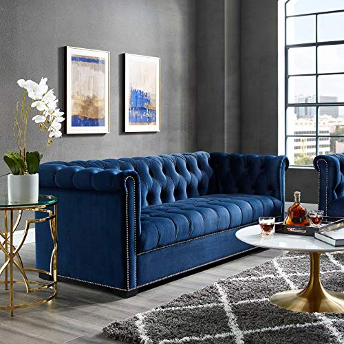 Modway Heritage Tufted Performance Velvet Upholstered Chesterfield Sofa with Nailhead Trim in Midnight Blue