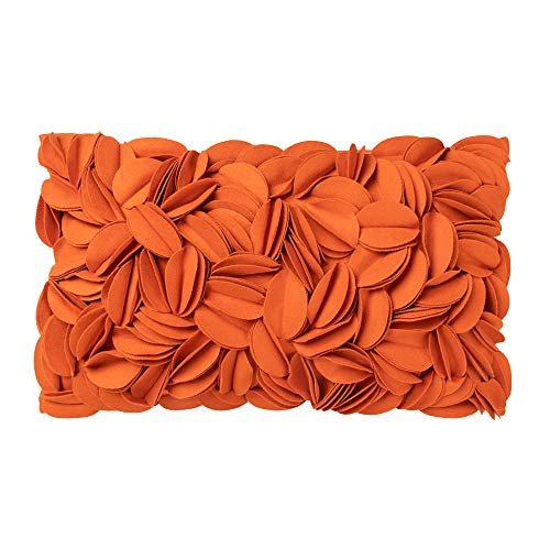 King Rose Handmade 3D Flower Accent Throw Pillow Cover Decorative Pillowcase Solid Rectangle Cushion Cover for Sofa Bed Living Room Couch Home Decor 12 x 20 Inches Wool Orange