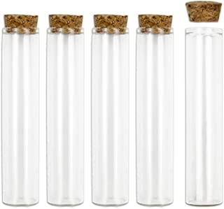 Glass Test Tubes, 18pcs 55ml Clear Flat Test Tubes with Wooden Stopper, 25×120mm by SUPERLELE