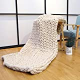EASTSURE Chunky Knit Blanket Bulky Throw Merino Wool Hand Made Bed Sofa Throw Super Large,Beige,40'x40'