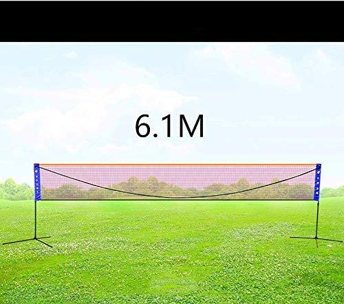 HLJ 6.1m Badminton Net Set, Tportable, Volleyballnetz, Kinder Volleyball for Garten Schulhof Hinterhof Strand 5.1m Schwarz (Size : 6.1)