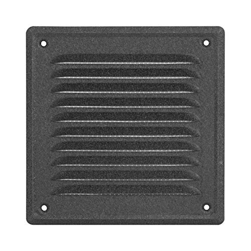 ADGO® Rejilla de ventilación de alta calidad, color antracita, 165 x 165 mm, rejilla de escape, lacada, con rosca para chimenea, de grafito oscuro, resistente a la corrosión