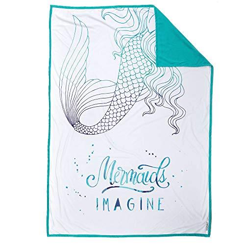 Mermaid Pillow Co IMAGINE Mermaid Blanket Inspiring and Motivational Kids Plush Throw Velvet Children's Blanket 48 x 60