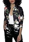 Minetom Casual Moda Mujer Stand Collar Manga Larga de Cremallera Floral Printed Bomber Chaqueta Jacket Coat Outwear Negro ES 44