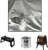 Feuerschale Matte Feuerfeste BBQ Grills Matte Splatter Protector Pad Rund Feuerfeste Unterlage Faltbare Hitzebeständige Wasserbeständige Feuerstelle Zubehör für Boden,Terrasse,Deck (100*150cm)