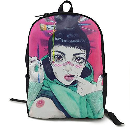 Sexy Goth Gothic Women Girl Breast Art Pink Backpack Fun Basic Sackpack For Unisex Large Capacity Fits15.6 Inch Computer Laptop Bag Or Book Clothes