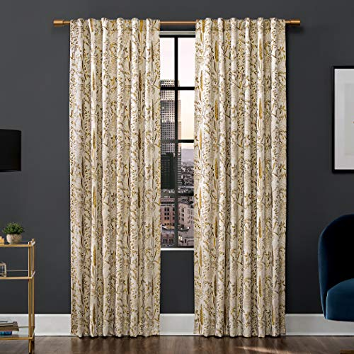 """Scott Living Aubry Shimmering Floral 100% Blackout Back Tab Curtain Panel, 52"""" x 84"""", Gold"""