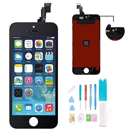 GLOBAL GOLDEN Ecran LCD de Remplacement pour iPhone 5S iPhone Se Noir, Assemblage de Cadre en Verre pour écran Tactile avec écran Tactile Digitizer